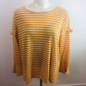LOFT Striped Blouse With Frilled Long Sleeve